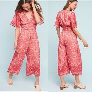 Anthropologie Floral Culottes Jumpsuit